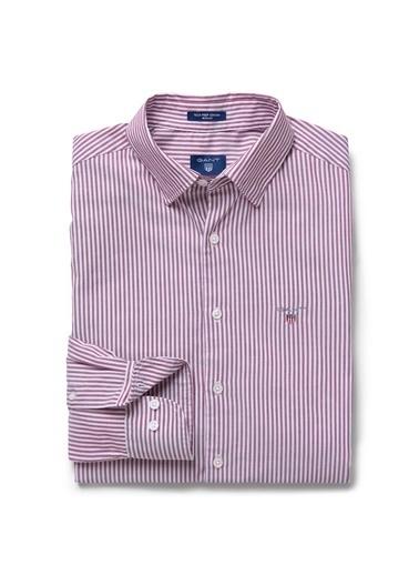 Gant Çizgili Regular Gömlek Kırmızı